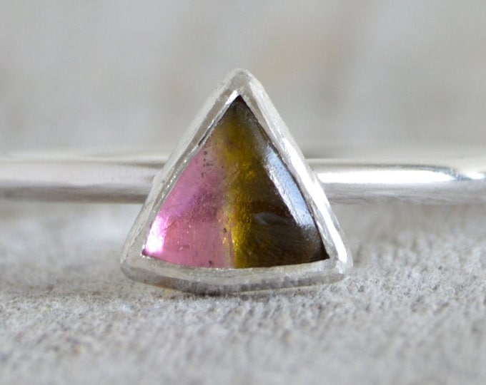 Watermelon Tourmaline Ring, October Birthstone, Triangular Shape Tourmaline Ring, Small Tourmaline Ring