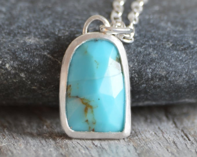 Turquoise Necklace with Sterling Silver, December Birthstone Necklace, Handmade in England