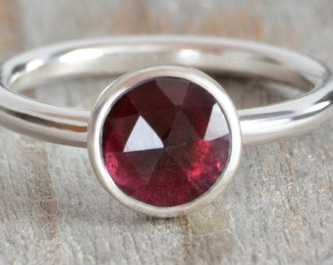 1.25ct Garnet Ring in Sterling Silver, Handmade in the UK