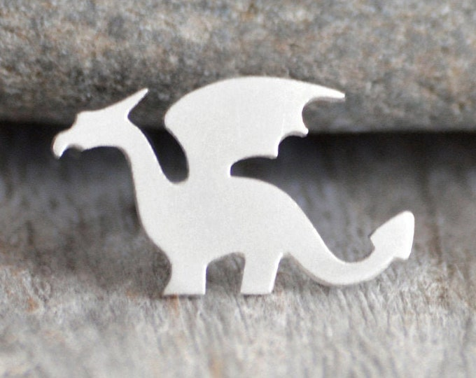 Dragon Pin, Dragon Lapel Pin, Dragon Tie Tack in Sterling Silver, Handmade in England