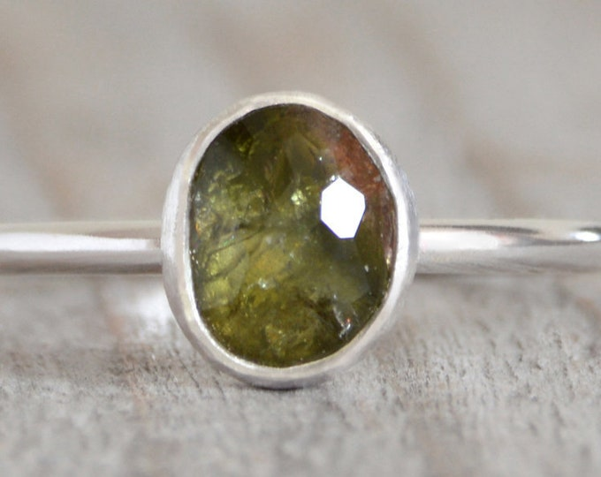 Green Tourmaline Engagement Ring, October Birthstone, 0.8ct Tourmaline Ring with Recycled Sterling Silver
