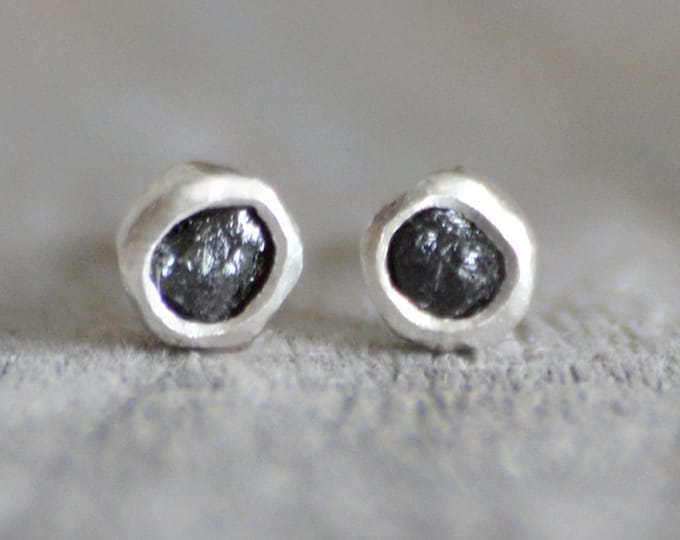 Raw diamond Stud Earrings, Black Diamond Stud Earrings, Total 0.2ct Diamond Stud Earrings