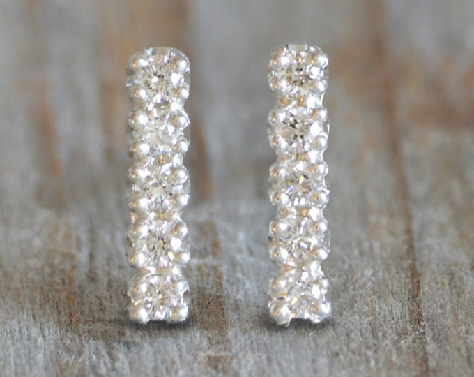 Bridal Diamond Stud Earrings, Pave Diamond Stud Earrings, Small Diamond Bar Stud Earrings, Made in England