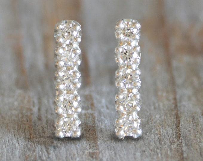 Bridal Diamond Stud Earrings, Pave Diamond Earring Studs, Small Diamond Bar Ear Studs, Made in England