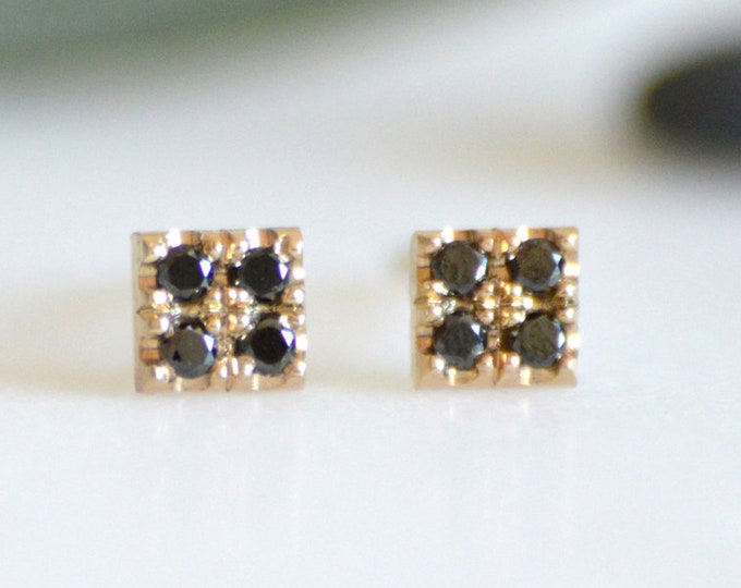 Black Diamond Earring Studs with Yellow Gold, Small Black Diamond Earrings, Everyday Diamond Earrings, Made in England