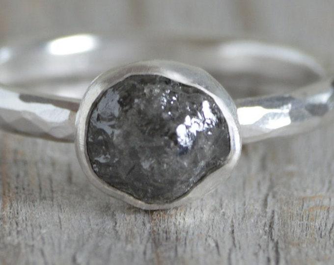 Raw Diamond Engagement Ring, 1.40ct Black Diamond Ring, Rough Diamond Engagement Ring, Handmade In England