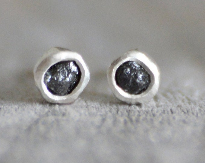 For Laura, Raw diamond Earring Stud, Black Diamond Ear Stud with Push On Earring Back