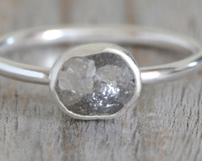 Raw Diamond Engagement Ring, 0.90ct Silver Grey Diamond Ring, Handmade In England