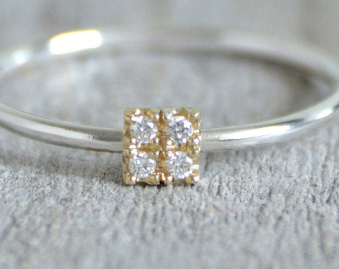 4 Diamonds Engagement Ring, Micro Pave Diamond Engagement Ring, Square Diamond Ring, Yellow Gold Diamond Ring, April Birthstone Ring