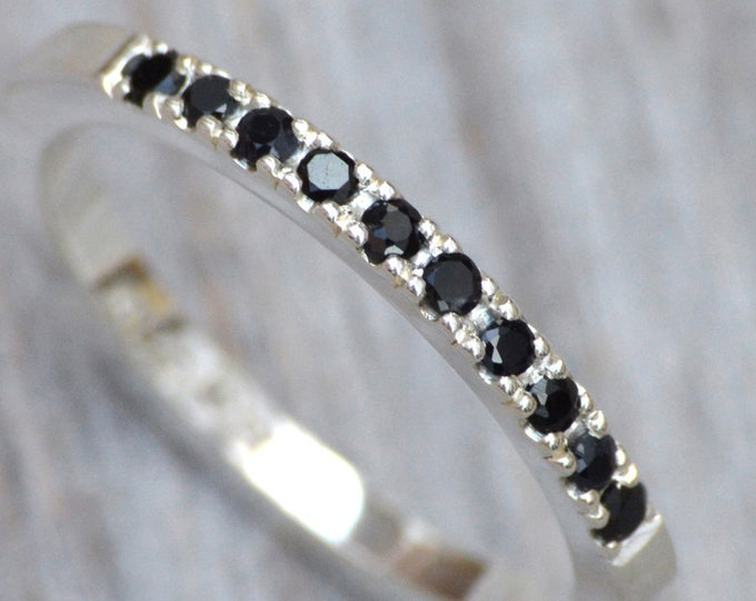 Black Sapphire Pave Wedding Ring, Sapphire Wedding Ring, Handmdade in the UK