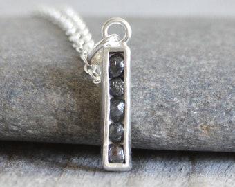 Black Diamond Necklace, Channel Set Diamond Necklace