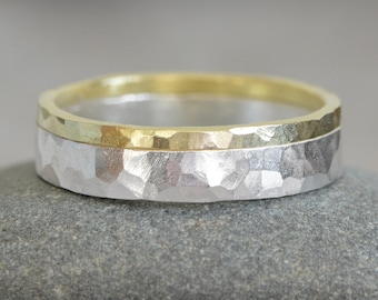 Hammered Effect Wedding Band in 18ct Yellow Gold and Sterling Silver, Mixed Metal Wedding Band,  Rustic Wedding Ring, Unisex Wedding Band
