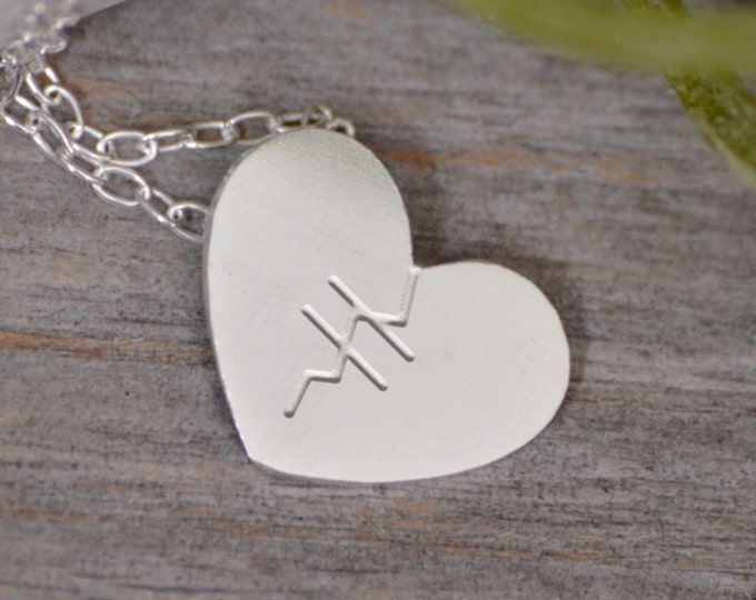 Mended Heart Necklace in Sterling Silver, Silver Mended Heart Shape Necklace