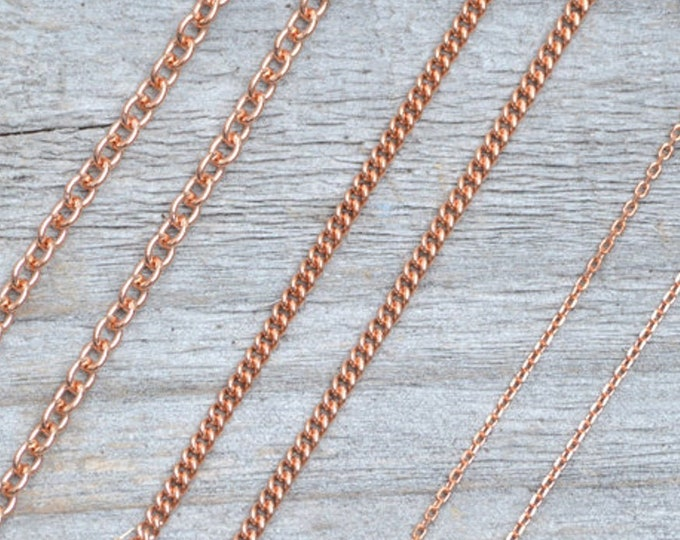 Solid 9ct Rose Gold Chain, Curb Chain, Belcher Chain, and Trace Chain, 16 inches chain, 18 inches chain, and 20 inches chain