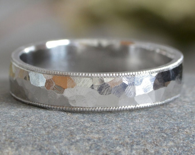 Millgrain Platinum Wedding Band With Hammered Effect, Platinum Wedding Ring, 3mm Wide or 4mm Wide, Rustic Wedding Band, Made To Order