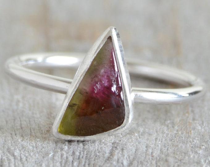 Watermelon Tourmaline Ring, October Birthstone Ring, Triangular Tourmaline Ring