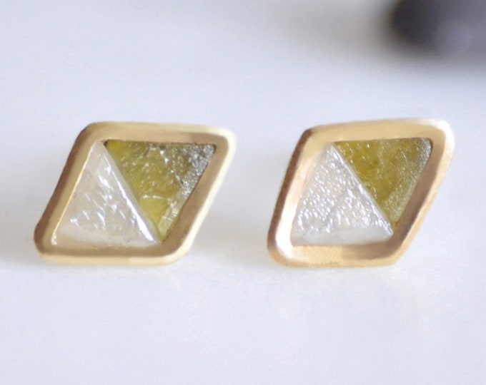 Rough Diamond Stud Earrings in 18k Yellow Gold, Rustic Diamond Stud Earrings, Handmade in England