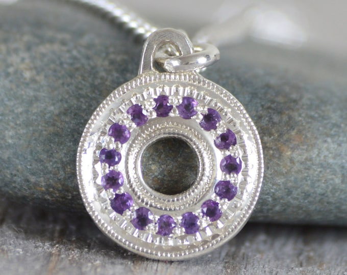 Amethyst Necklace with Recycled Sterling Silver, Pave Amethyst Necklace, Pave Necklace, February Birthstone Necklace