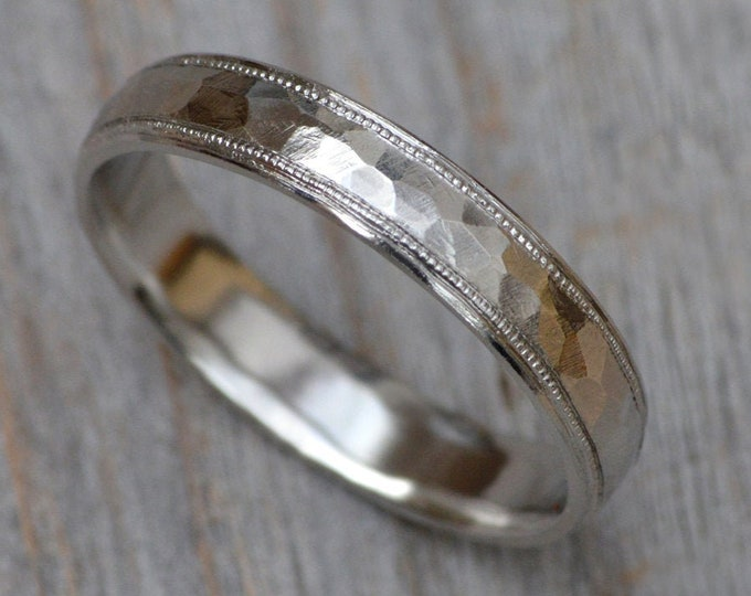 Platinum Wedding Band with Hammer Effect and Milgrains, Platinum Milgrain Wedding Ring, Platinum Wedding Ring, 4mm Wide, Rustic Wedding Band