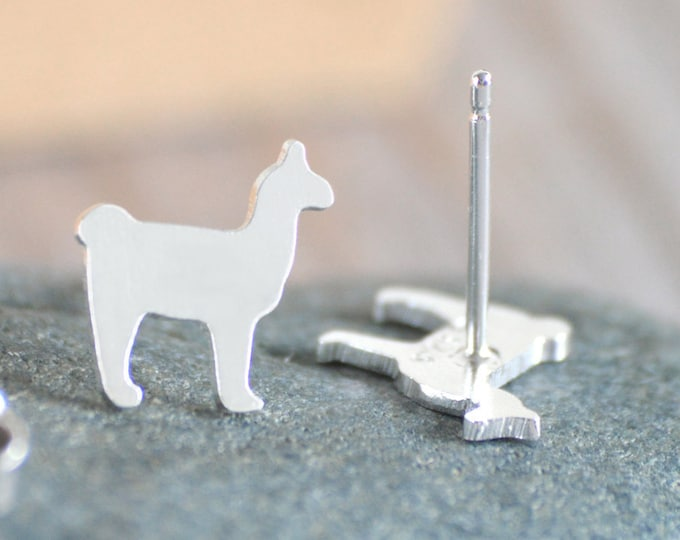 Llama Stud Earrings, Silver Llama Stud Earrings, Handmade in the UK
