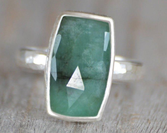 Rose Cut Emerald Ring, 4ct Emerald Ring, May Birthstone, Emerald Gift, Handmade In The UK