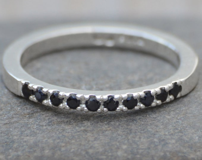 Black Sapphire Pave Wedding Ring, Sapphire Wedding Ring, size J Wedding Ring