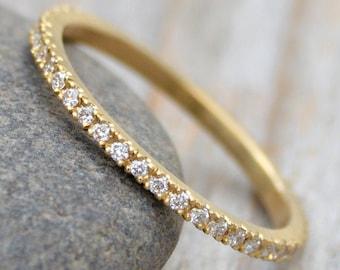 Pave Eternity Ring, Pave Diamond Wedding Ring, Diamond Eternity Ring, Eternity Wedding Ring, UK size J