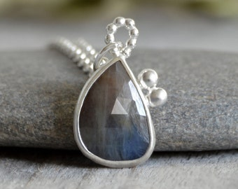 Sapphire Necklace in Sterling Silver, 4.15ct Sapphire Necklace