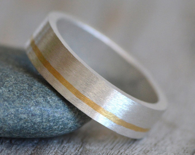 Wedding Band with 24K Gold Inlay, Sterling Silver Wedding Band with 24K Gold Inlay, 5mm Wide Wedding Ring