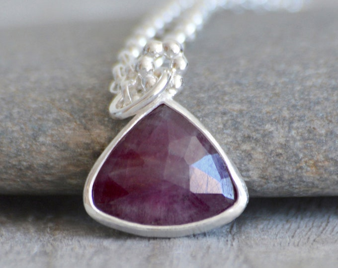Ruby Necklace Set in Recycled Sterling Silver, 2.95ct Ruby Necklace with Adjustable Chain, July Birthstone, Ruby Anniversary Gift
