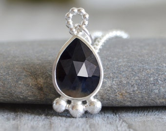 2.7ct Sapphire Necklace in Sterling Silver, September Birthstone Necklace