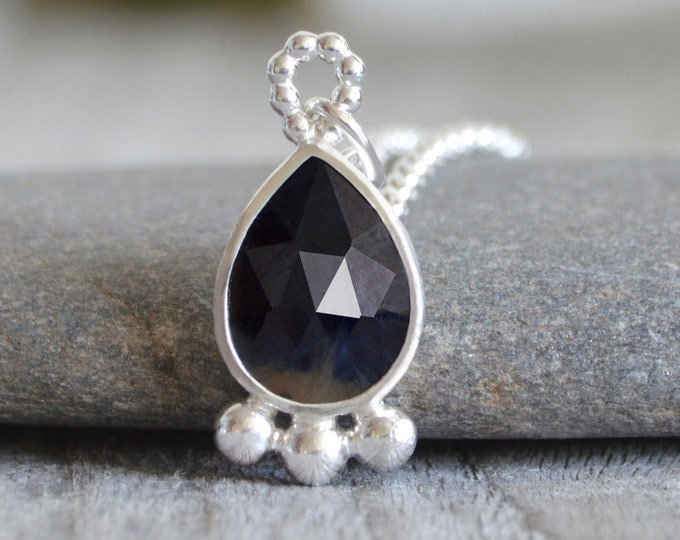 2.7ct Sapphire Necklace, Rose Cut Sapphire Necklace with Recycled Sterling Silver, September Birthstone