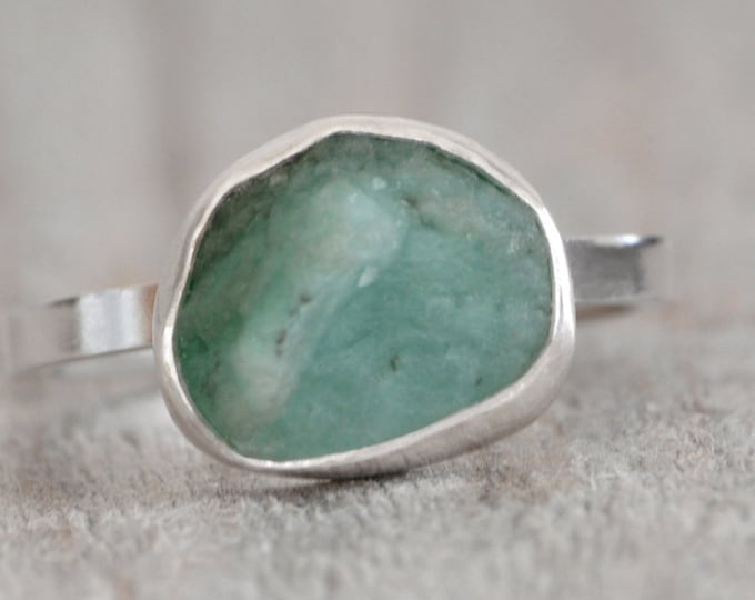 Rough Emerald Ring Set in Sterling Silver, 3.0ct Emerald Ring, May Birthstone, Emerald Gift, Handmade in The UK