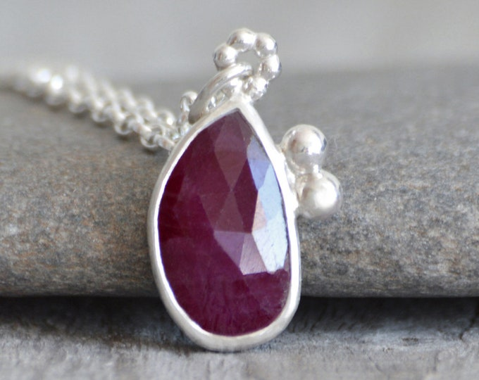 Ruby Necklace Set in Recycled Sterling Silver, 2.75ct Ruby Necklace with Adjustable Chain, July Birthstone, Ruby Anniversary Gift