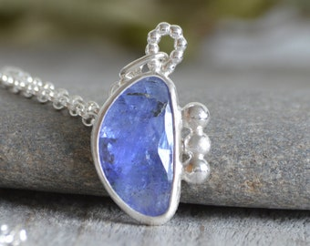 Rose Cut Tanzanite Necklace in Sterling Silver, 3.5ct Tanzanite Necklace, December Birthstone Necklace