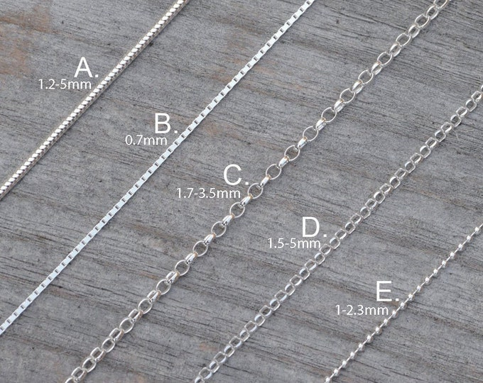 "Solid Sterling Silver Chain, Snake, Box, Diamond Cut Belcher, Belcher, Ball, 16"", 18"", 20"", 22"", 24"", 30"", 32"" Chain Necklace"