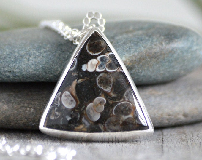 Triangular Turritella Agate Necklace, Large Agate Neckalce, Unique Agate Necklace, One of A Kind Necklace, Handmade in The UK