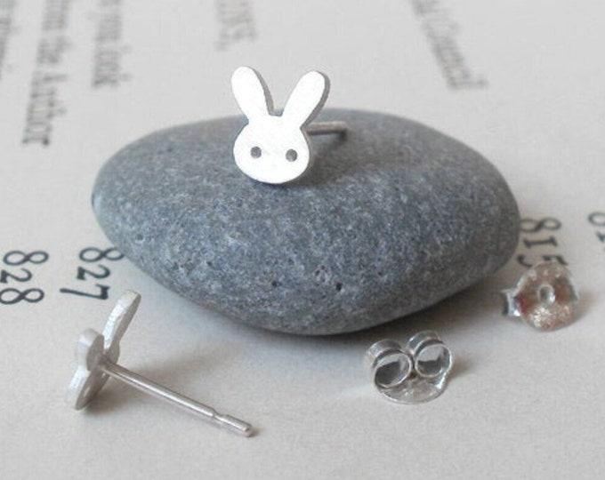 Bunny Stud Earrings with Straight Ears, Silver Rabbit Ear Posts