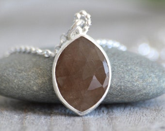 Brown Sapphire Necklace in Sterling Silver, 5.65ct Sapphire Necklace