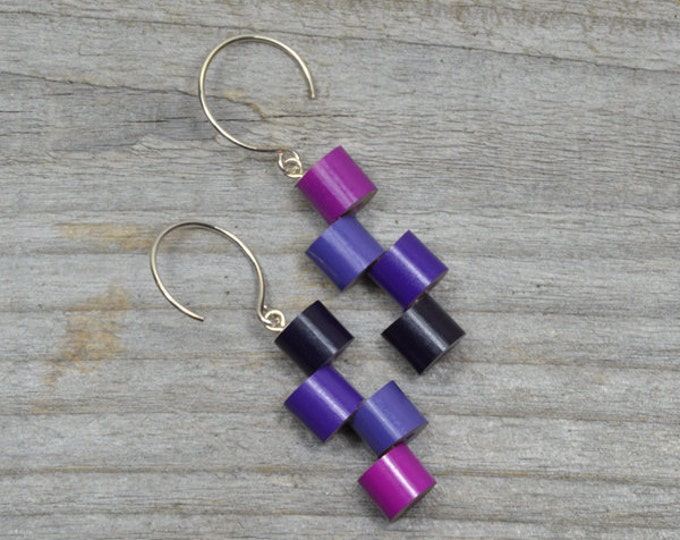 Purple Colour Pencil Earrings with Sterling Silver, Colour Theme: Purple and Pink Fever Pencil Jewelry, Handmade in England by Huiyi Tan