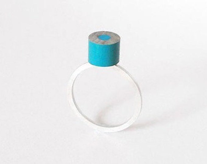 Color Pencil Ring In Blue, Pencil Jewelry Handmade In The UK By Huiyi Tan
