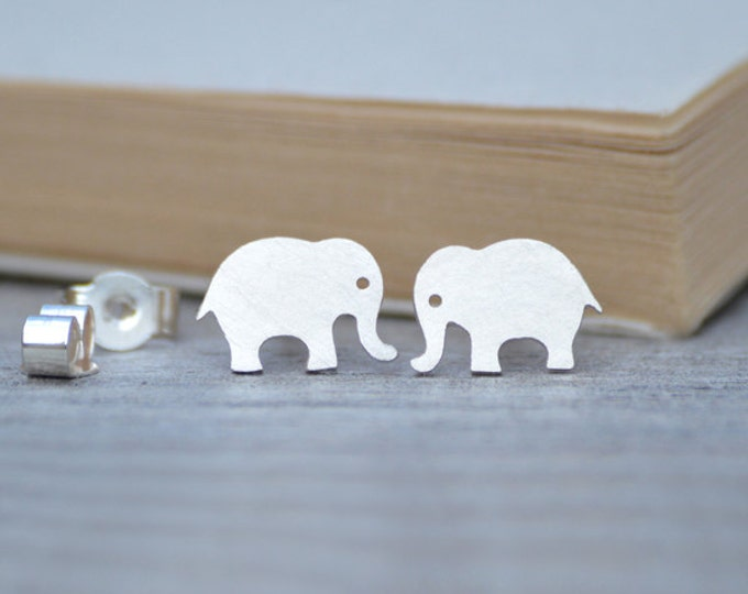 Elephant Earring Studs, Animal Earring Studs in Sterling Silver, Handmade in England