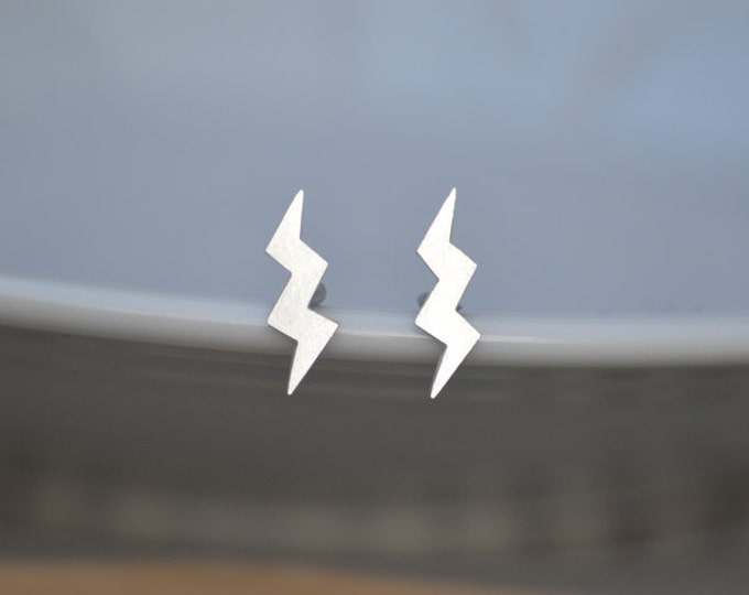 Sterling Silver Lightning Ear Studs From The Weather Forecast Collection, Handmade In England