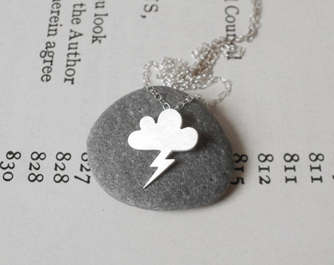 Lightning Cloud Necklace, Weather Forecast Necklace Handmade In England