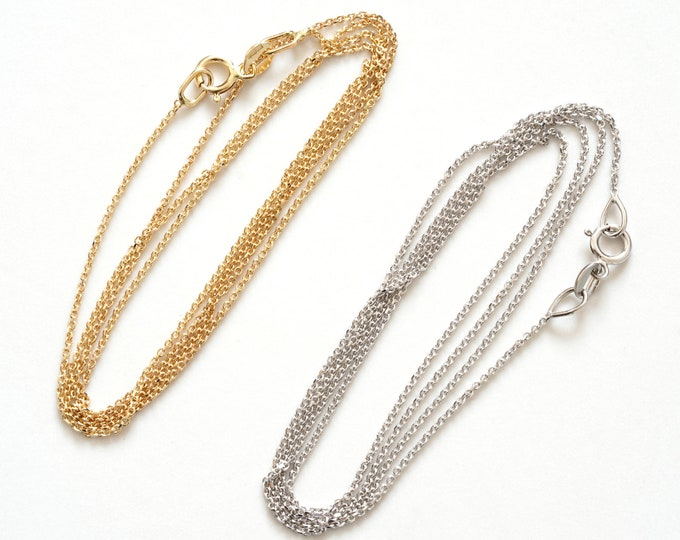 Cable Chain in Solid 14ct Yellow Gold, 14ct White Gold Chain, DIY Necklace