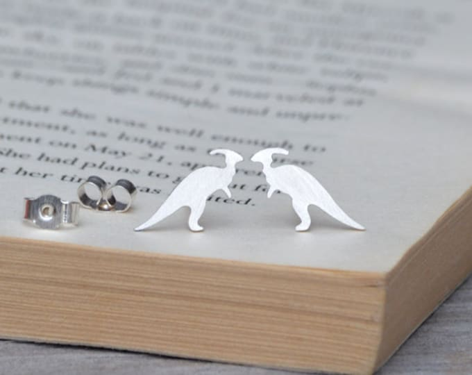 Parasaurolophus Dinosaur Earring Studs In Sterling Silver, Handmade In The UK