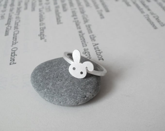Bunny Rabbit Ring In Sterling Silver With Floppy Ear, Handmade In The UK