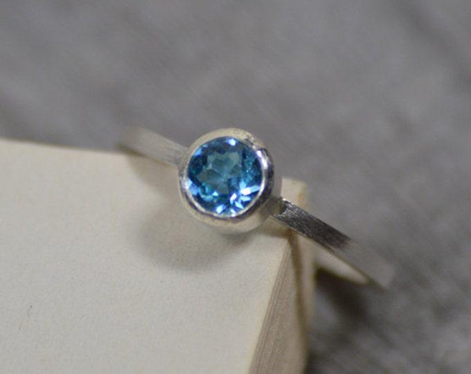 Blue Topaz Ring Set In Sterling Silver, Topaz Stacker Or Solitaire Ring, Blue Topaz Engagement Ring, November Birthstone Ring