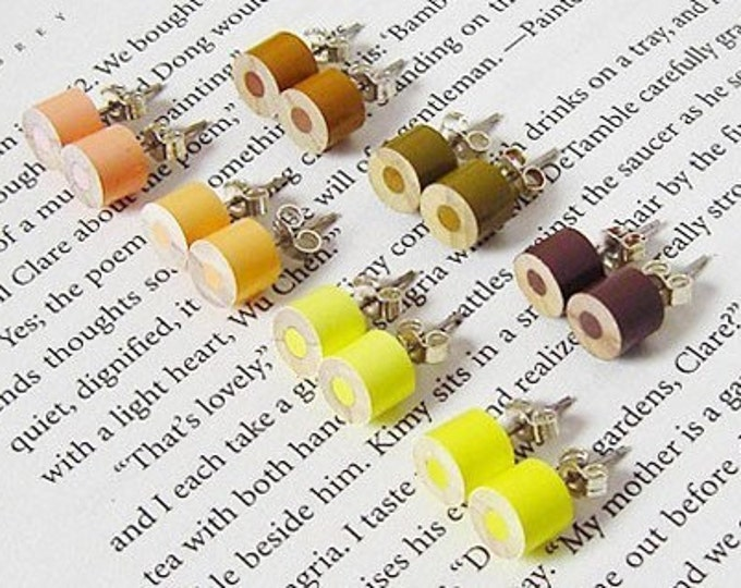 Colour Pencil Ear Studs, the Yellow And Brown Collection Pencil Jewellery Handmade in England by Huiyi Tan
