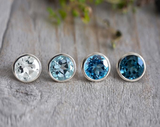 8mm Topaz Stud Earrings, Sky Blue Topaz Stud Earrings, Swiss Blue Topaz Stud Earrings, London Blue Topaz Stud Earring, Large Post Earrings
